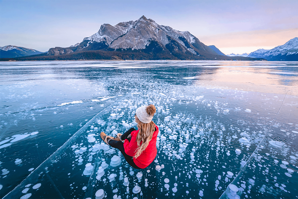 This Canadian lake filled with frozen ice bubbles is out of this world