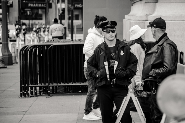 Security checks in black and white image.