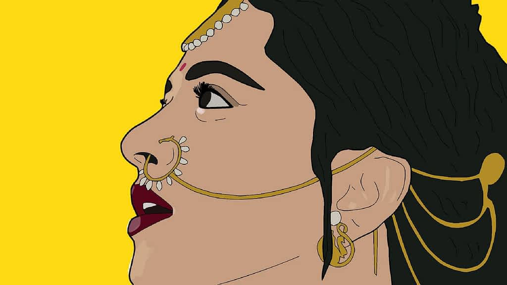 Indian woman's vector image